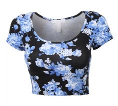 Women's Fitted Short Sleeve Scoop Neck Floral Print Crop Top with stretch