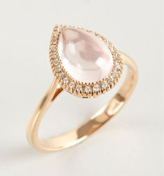 ARMADANI Rose Quartz And Diamond Teardrop Ring
