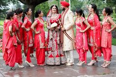 Purple Tree Wedding Photography - Sikh Indian bride in red lehnga with bridesmaids in various style suits churidar anarkalis