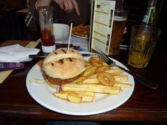 Wetherspoons burger and chips
