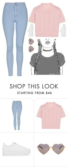 """""""dark eyes. colourful mind"""" by badgalyezi ❤ liked on Polyvore featuring Topshop, Carven, adidas Originals and Wildfox"""
