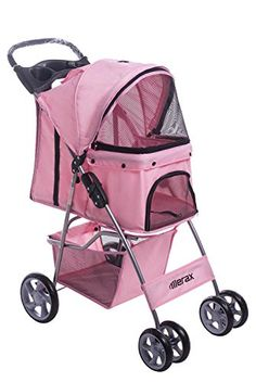 Merax Folding Cat Dog Pet Carrier Stroller Three-wheeled and Four-wheeled (Pink, Four-wheeled) >>> Find out more about the great product at the image link.