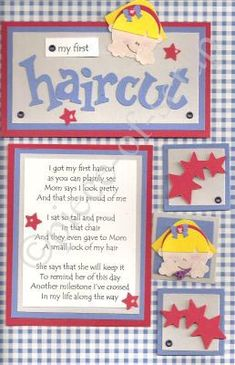 (Don't bother going to the site) haircut scrapbook poem Baby Boy Scrapbook, Pregnancy Scrapbook, Baby Scrapbook Pages, Scrapbook Quotes, Scrapbook Sketches, Christmas Scrapbook Layouts, Scrapbooking Layouts, Baby Record Book, Baby Records