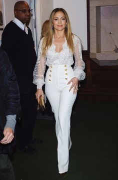 - Jennifer Lopez in Zuhair Muard Couture white lace blouse + high-waisted statement buttons sailor pants + coat at her book True Love Promotion In Conversation with Hoda Kotb Nov J Lo Fashion, White Fashion, Couture Fashion, Trendy Fashion, Fashion Outfits, Womens Fashion, Fashion Trends, Fashion Hacks, Vintage Fashion