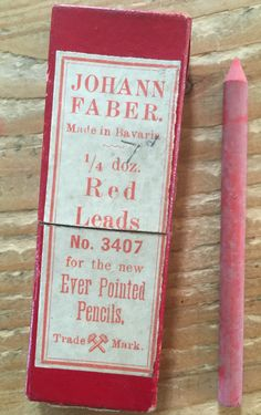 Johann Faber Red Leads No 3407 for the new Ever Pointed Pencils. Made in Bavaria. 1/4 doz ( 3!)