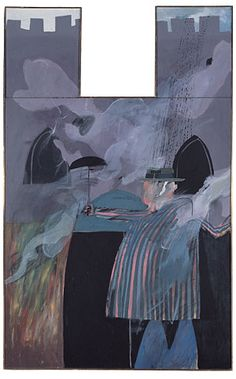 Man Stood In Front Of His House With Rain Descending by David Hockney