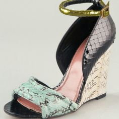 """Derek Lam Bristol Python Wedges 38 Multicolor python open toe wedge sandal with closed back and metallic adjustable ankle strap. Black/mint/gold. Seriously stunning shoes worn once. 3"""" wedge heel. Derek Lam Shoes"""
