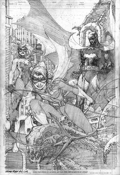 Batgirl, Batman, and Black Canary by Jim Lee