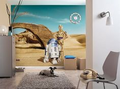 Giant size wallpaper mural for living room. Star Wars Lost Droids paper wallpaper ideas. Express and worldwide shipping. Free UK delivery.