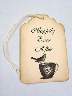 Tea Cup Wedding Wish Tag Favor