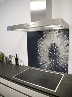 Abstract dandelion Printed Glass Splashback from DIYSplashbacks.co.uk