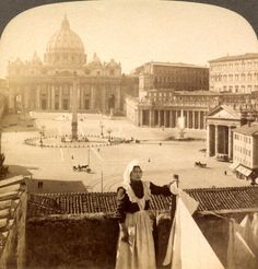 Wash day in front of St. Peters and the Vatican, Rome, Italy, 1905. Taken before Mussolini knocked down the buildings to make the ultra wide Via d. Conciliazione