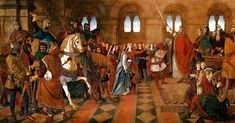 'Hospitality Admission of Sir Tristram to the Round Table' by William Dyce and Charles West Cope 1864 – 1866 - Fresco painting Houses of Parliament Rome Travel, His Travel, Subject Of Art, Houses Of Parliament, House Painting, Hospitality, Fan Art, King Arthur, Fresco