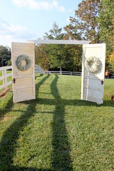 ceremony entrance doors for outside wedding :) Doors for entrance and window to stand at and say I DO Outside Wedding, Wedding Ceremony, Our Wedding, Dream Wedding, Wedding Entrance, Old Doors Wedding, Wedding Ideas, Outdoor Ceremony, Wedding Stuff