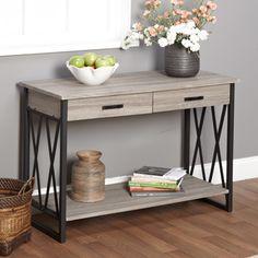 Simple Living Seneca XX Black/ Grey Reclaimed Wood Sofa Table