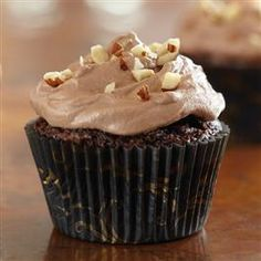 EASY Brownie Cupcakes with Hazelnut Buttercream - really easy recipe using Pillsbury chocolate fudge brownie mix for the cupcake. The frosting is a little harder, but you could substitute for their easier frosting recipe which is just vanilla or chocolate frosting mix and any nut butter you like.