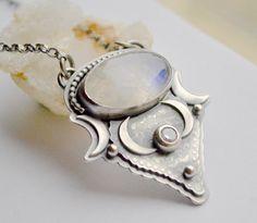Boho Style Moonstone Necklace with Topaz Gemstone by EONDesignJewelry