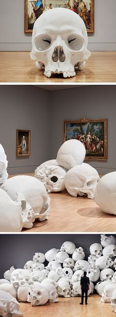 Artist Ron Mueck has unveiled his largest installation called 'Mass', a collection of 100 monumental hand-cast skulls. #skullart #installation #installationart #contemporaryart