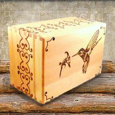 Personalized Wood Burned Box with Ornate Hummingbird. $49.00, via Etsy.