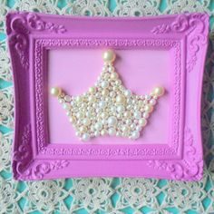 Idea for Art...not so hot pink, but I like the idea...Vintage pearls Princess crown mosaic art.  3d. Shabby chic.  Girls room decor.  Mixed media wall art.. $40.00, via Etsy. (Maybe smaller as the front to invites?)