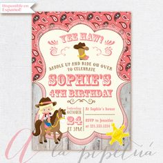 Cowgirl Invitation. Cowgirl Birthday Party. Cowgirl Printable invitation. Western invitation. by Pipetua on Etsy https://www.etsy.com/listing/242763786/cowgirl-invitation-cowgirl-birthday