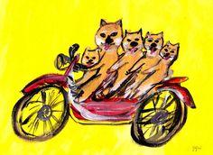 It is happy. Illustration Art, Illustrations, Cute Poster, Dog Art, Cat Day, Art Museum, Fantasy Art, Puppies, Drawings