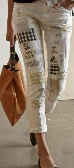 Personaliza tus jeans free – Patchwork jeans DIY ★★★★★ 417 Opiniones … - Dress Designs 2019 - Most Beatiful Clothes Patchwork Jeans, Patchwork Dress, Patchwork Cushion, Diy Jeans, Jean Diy, Diy Kleidung, Mode Jeans, Patched Jeans, Ripped Jeans