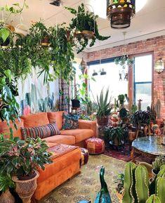Room Decor Bedroom, Living Room Decor, Orange Couch, Bohemian House, Bohemian Decor, Bohemian Living, Hippie House Decor, Bohemian Studio, Modern Bohemian