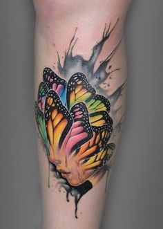 Butterfly face tattoo by Paul Vander-Johnson: TattooNOW Watercolor Tattoo Feather, Feather Tattoos, Body Art Tattoos, Sleeve Tattoos, Cool Tattoos, 3d Tattoos, Butterfly Watercolor, Unique Tattoos, Tatoos