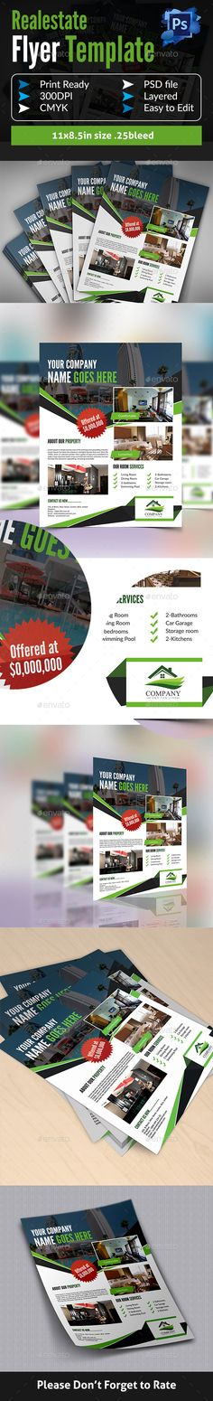 #Real #Estate #Flyer Template - Corporate Flyers Download here: https://graphicriver.net/item/real-estate-flyer-template/14469745?ref=alena994