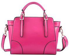 Heshe New Fashion Womens Waxy Tophandle Tote Handle Cross Body Shoulder Bag Handbag Rose * Visit the image link more details.