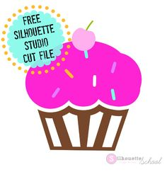 Free for personal Silhouette Studio Cupcake design. Commercial license available. Silhouette Curio Projects, Silhouette School Blog, Silhouette Cameo Files, Silhouette Cameo Tutorials, Silhouette Images, Silhouette Vinyl, Silhouette Studio, Vinyl Projects, Project Ideas