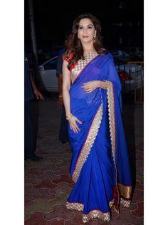 Madhuri in a Blue Saree, forever gorgeous... www.ivaanafashion.com