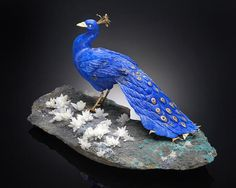 Lapis Lazuli and Gold Carving of a Peacock