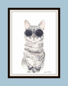 Cat with Glasses Watercolour Print- Cat Print- Cat Watercolour- Hipster Cat- Pet Watercolour- Cat Portrait- Art by Lewis Hanson