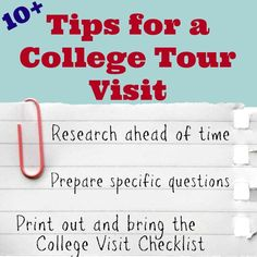 "It's that time of year that thousands of students and their families visit college campuses to take tours and discover more about the school.  Two years ago we learned a lot when we took my oldest ""baby"" on five college tours.  I'm still recovering from the college selection process with my oldest, but here we go …"