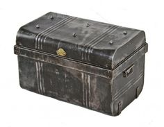 Early 20th century original and intact American industrial cold-rolled pressed and formed steel steamer truck with opposed drop handles. #steeltrunk #trunk #chest #storage #industrial
