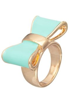 Mint Cute Daily Lacquered Bow Ring