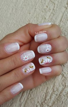 Unhas Francesinhas para inspirar, veja mais de 35 modelos no site Manicure Nail Designs, Toe Nail Designs, Nail Manicure, French Nail Designs, Pretty Nail Designs, Aycrlic Nails, Diy Nails, Gorgeous Nails, Pretty Nails