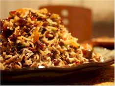 This recipe for Adas Polo is from an Assyrian friend.  The dish combines Basmati rice, lentils, onion, beef, raisins and saffron.