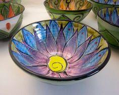 Handmade Ceramic Earthenware Majolica Clay Pottery Serving Bowl Blue Purple Lotus Bowl on Olive Green. $30.00, via Etsy.