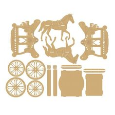 Horse and Carriage Self Assembly Set *N.B this is not a toy* The horses join with an mdf plinth inbetween them, they come with loops to add ribbon to to then join toHorse and Carriage Self Assembly Set - Horse and Carriage Self M Wood Crafts, Diy And Crafts, Arts And Crafts, Paper Crafts, Cajas Silhouette Cameo, 3d Puzzel, Laser Cutter Ideas, 3d Modelle, Scroll Saw Patterns