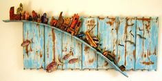 Tony Britnell - Boatyard, six birds and four fish panel