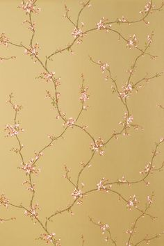 Chinoiserie Chic:  'Buds' Wallpaper in 'Gold Metallic' from the 'Shangri-La Collection' - Thibaut