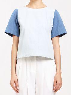 Two Tone Denim T-shirt https://www.paisie.com/collections/new-in/products/two-tone-denim-t-shirt