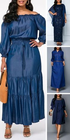 Clothes for women over 30 outfits 30 day 37 Ideas for 2019 African Maxi Dresses, Latest African Fashion Dresses, Women's Fashion Dresses, Classy Work Outfits, Classy Dress, Blue Dresses For Women, Clothes For Women, A Line Skirt Outfits, 30 Outfits