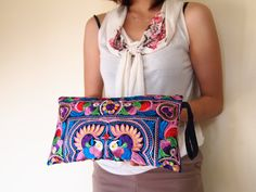 Hmong Wristlet Clutch Hippie Style Ethnic Thai Boho Medium Size Embroidered Bag on Etsy, 5,45 €