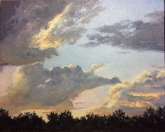"""""""Summer Sunset"""" 10x8 inch. OIL,PAINTING. Aerial Drama!  Breathtaking beauty.  The summer sky is alight as the sun goes down.  This oil painting captures the essence of that dtamatic ending to the day. . Published via ArtLoupe. #IMPRESSIONISTIC #LANDSCAPE #REPRESENTATIONAL"""