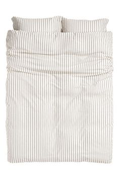 Striped duvet cover set - Natural white/Grey striped - Home All | H&M GB 1