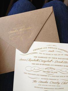 Wedding invitations, gold foil on Kraft envelopes and natural cotton paper   www.meldeen.com